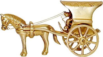 Aakrati Traditional Horse cart Made in Brass with Antique Look - Rare Collection for Gift and Decor