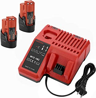 ANTRobut 2500mAh 2 Pack Replacement Lithium 12V Milwaukee M12 Battery + M12 & M18 Rapid Charger for Milwaukee M12 Battery Charger