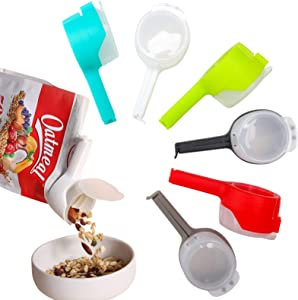 Zwish 6PCS Food Bag Clips, Storage Sealing Clips with Pour Spouts, Kitchen Chip Bag Clips, Plastic Cap Sealer Clips, Great for Kitchen Food Storage and Organization