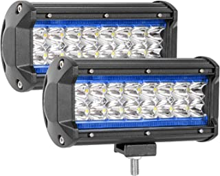 Zmoon LED Light Bar, 7in 240W 24000LM Off Road Driving Light, 2pcs Waterproof Pod Light with DRL/Angel Eye Spot&Flood Combo Beam Work Light for SUV/ATV/Jeep/Boat (Blue)