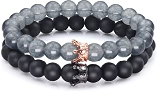 Couples Bracelets for His or Her Gift, Distance Friendship Matte Agate & Howlite CZ Crown Queen 6mm Beads Bracelet