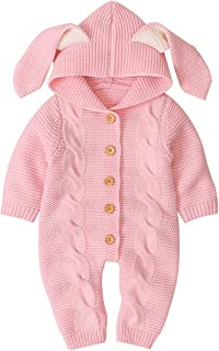 Camidy Newborn Baby Cute Rabbit Ear Hooded Romper Knitted Button Down Jumpsuit Bodysuit