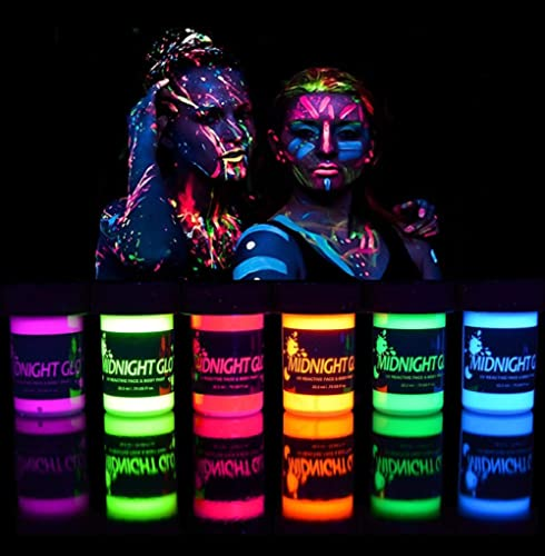 Midnight Glo Black Light Paint UV Neon Face & Body Paint Glow Kit (6 Bottles 0.75 oz. Each) - Blacklight Reactive Flu...