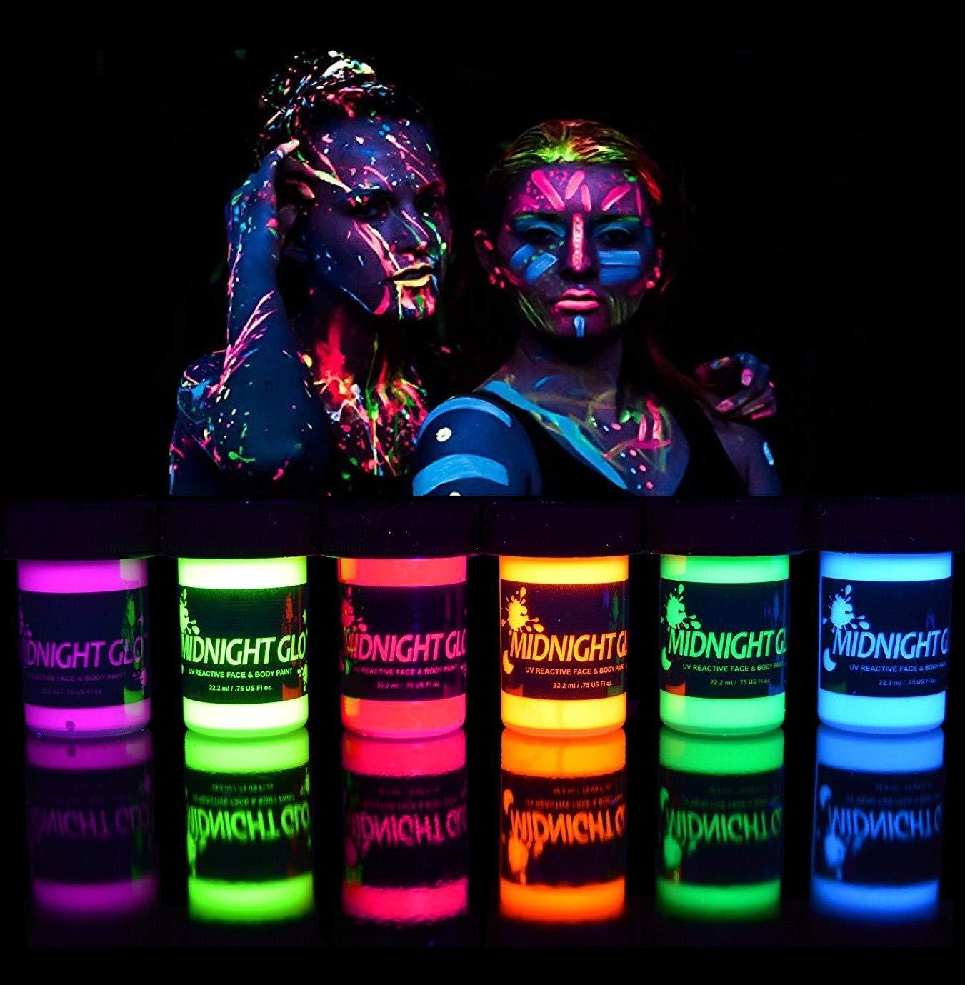 Neon Face Body Paint Bottles