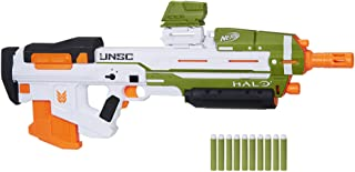 Nerf Halo MA40 Motorised Dart Blaster – Includes Removable 10-Dart Clip, 10 Official Nerf Elite Darts and Attachable Rail ...