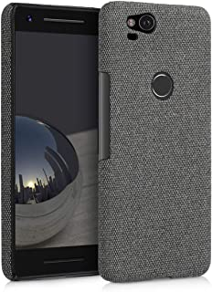 kwmobile Case for Google Pixel 2 - Protective Shockproof Back Cover in Canvas - Grey
