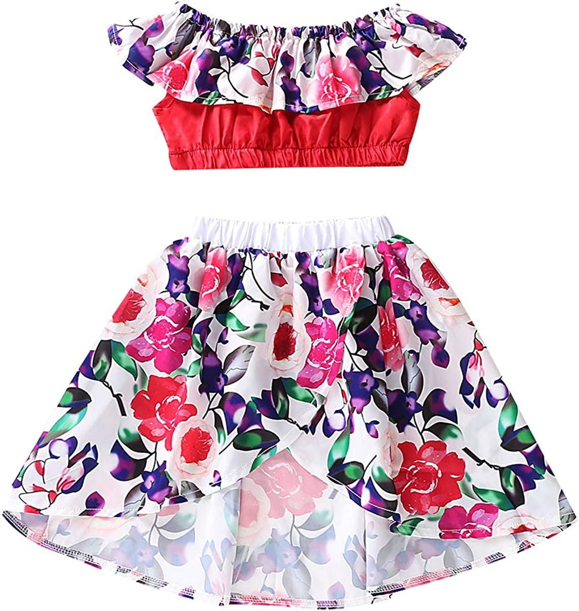 puseky Kids Girl Popular product Floral Outfits 70% OFF Outlet Summer Ruffled Crop Clothes Set