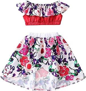 Borlai Baby Girls Clothing Suit Summer Fashion Ruffled Crop Top + Irregular Skirt 2pcs