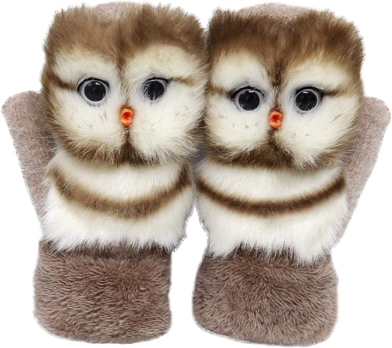 Handmade Cute Animal Plush Gloves, Women Warm Knitted Glove Wool Lined Full Finger Mittens for Autumn Winter