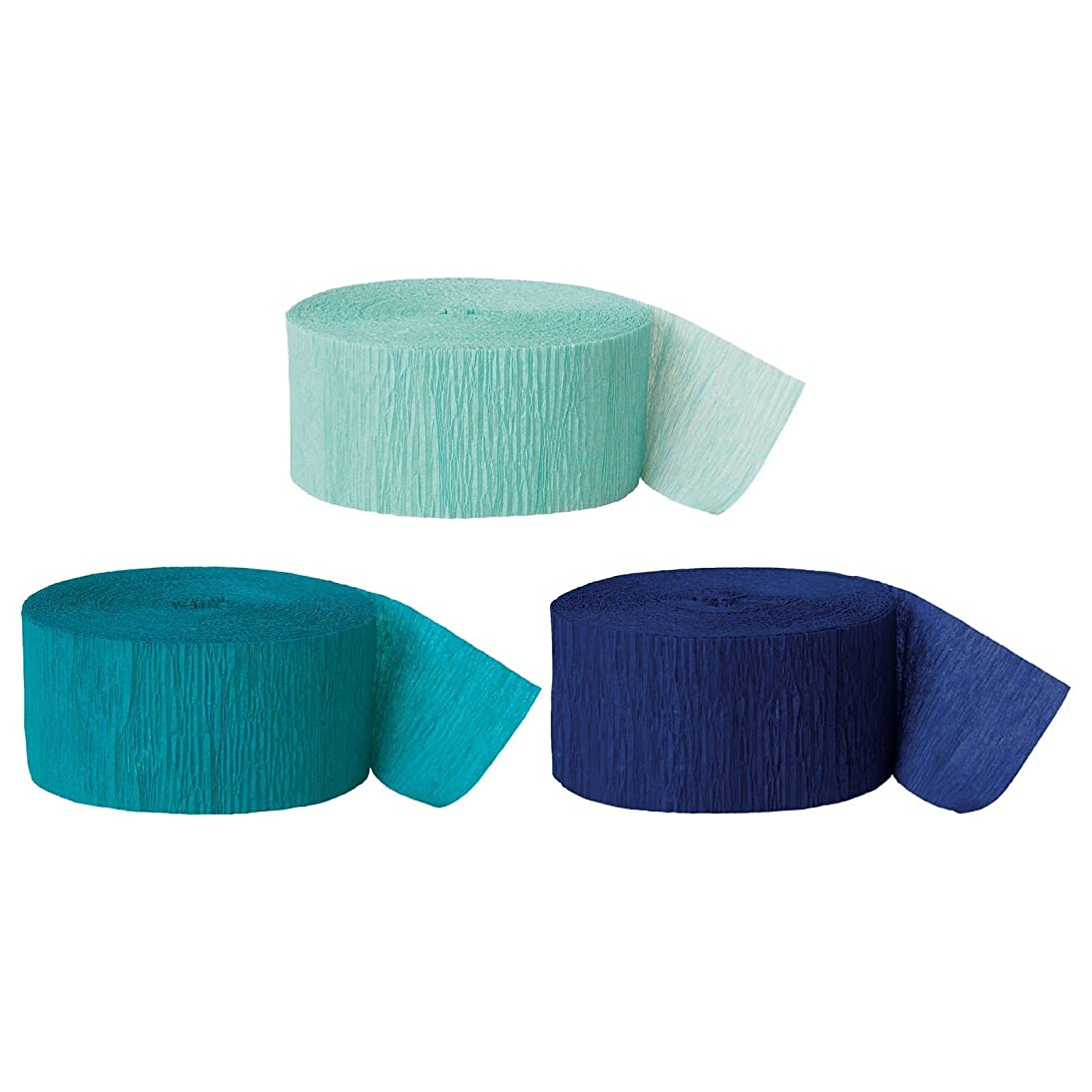 Andaz Press Crepe Paper Streamer Hanging Party Decorations Kit, 240-Feet, Diamond Blue Mint, Aqua Teal, Navy Blue, 1-Pack, 3-Rolls, Mermaid Colored Wedding Baby Bridal Shower Birthday Supplies