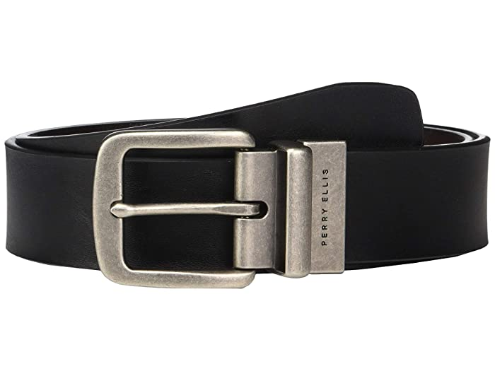 Perry Ellis Portfolio  38 mm Casual Reversible Belt (Black) Mens Belts