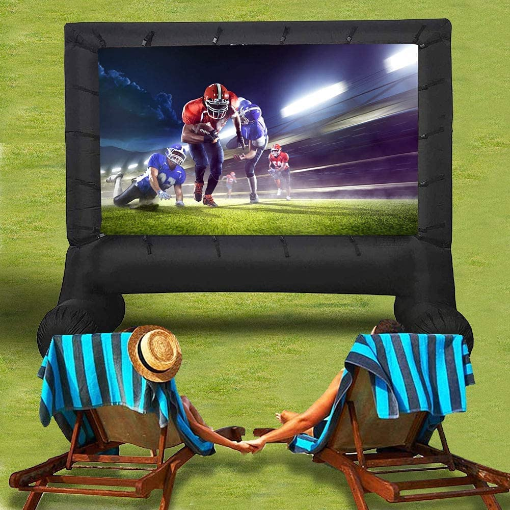 Sibosen Jumbo 17 Feet Inflatable Outdoor and Indoor Theater Projector Screen - Includes Big Power Fan, Tie-Downs and Storage Bag - Support Front and Rear Projection