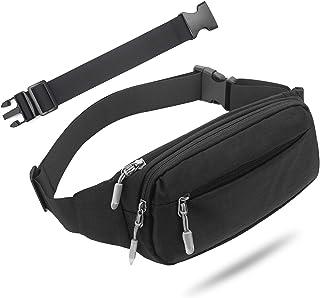 بسته های کمر USHAKE Fanny Pack با کش برای آقایان ، کیف کیسه کمر و هیپ بسته با جیب های 3 زیپ تسمه های قابل تنظیم برای مسافرت های گاه به گاه در حال انجام ورزش در فضای باز