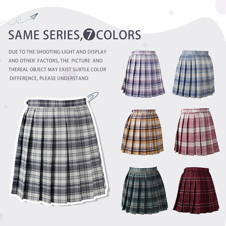 L PATTERN Women Skirts Sexy High Waist Pleated Skirt School Uniform Mini Tennis Skirt A-Line Plaid Skirts for Girls