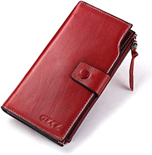 Anti-Theft Large Capacity Leather Handbag Purse Card Bag Storage Bag Lady's Purse (Color : Red, Size : S)