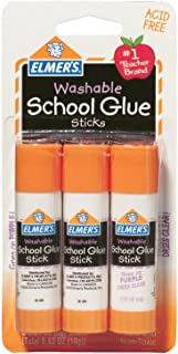 Elmer's Washable Dissappearing Purple School Glue Sticks, 3 Pack, 6 grams Each (E520)