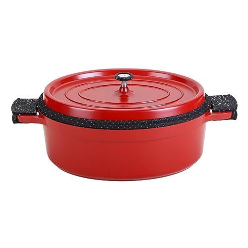 ROSSETTO Cocotte Ovale 38cm Rouge, Fonte d'Aluminium, Revêtement Aspect Pierre, Tous Feux Dont Induction