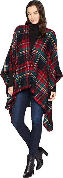 BSP3546 Open Front Woven Plaid Poncho