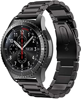 Stainless Steel Metal Watch Band for Galaxy Watch Quick Release Strap for Samsung Gear Sport/Gear S2 Classic, ,(Black)