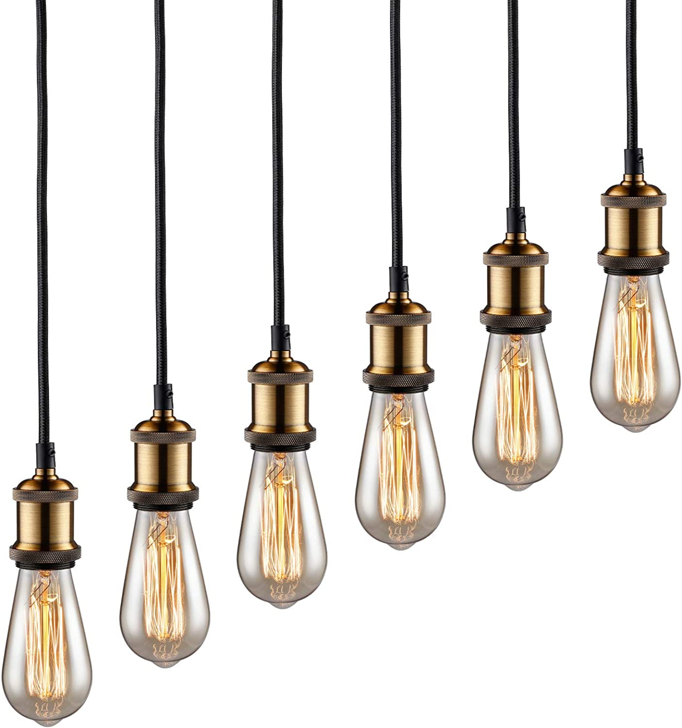 TORCHSTAR Pendant Light Fixture, 3.28ft Adjustable Lamp Cord, UL-Listed Power Cord, Decorating for Living Room, Coffee Shop, Western Stylish Place, 2-Year Warranty, Bronze, Pack of 6