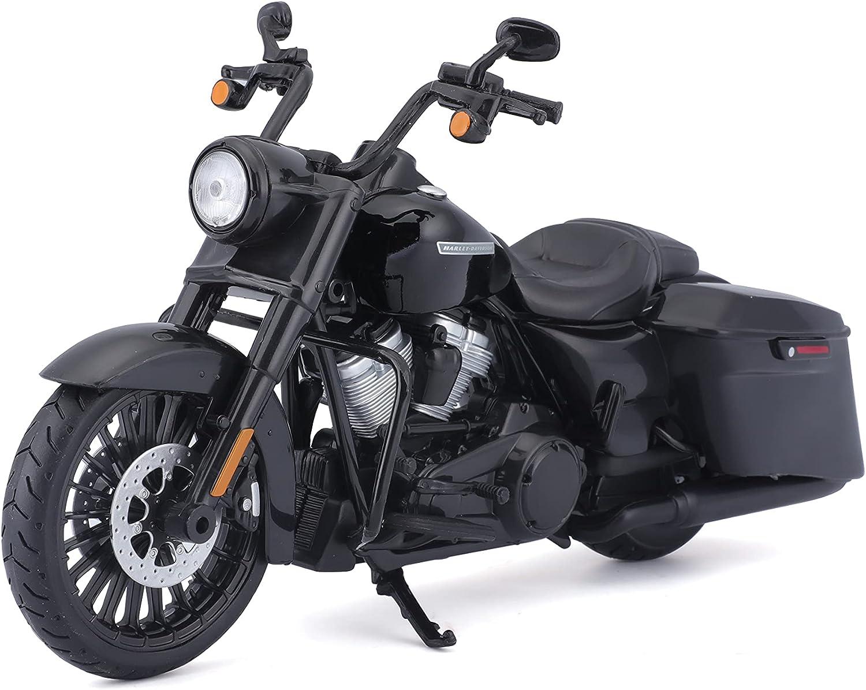 Maisto Harley-Davidson Road King Special - Modelo de Moto 1:12, Horquilla giratoria, Caballete Lateral móvil, 20 cm, Color Negro (532336)