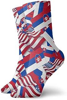 Calcetines casuales de la bandera de Eslovaquia con calcetines de tobillo de la bandera de Estados Unidos Calcetines de compresión de vestido corto para mujeres Hombres