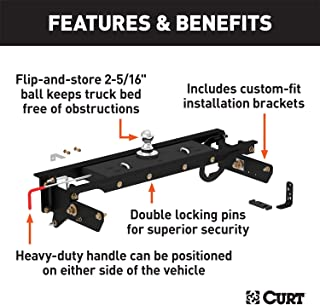 CURT 60720 Double Lock Gooseneck Hitch with Flip-and-Store Ball, 30,000 lbs., 2-5/16-Inch Ball, Fits Select Ford F-250, F-350 Super Duty, F-450 Super Duty