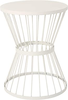 """Christopher Knight Home Lassen Outdoor 16"""" Iron Side Table, Matte White"""