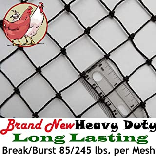 "Poultry Netting 6` x 150` Heavy Knotted 1"" Mesh Nets Aviary Gamefowl Quail Chicken Bird Block Net Long Lasting Break/Burst 85/245 lb Polyethylene 8-10 Year Lifespan 25lb Ship Weight"