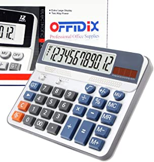 Extra Large Display Desktop Calculator, OFFIDIX Desk Calculator, Financial Accounting Style Electronic Calculator Portable 12 Digit Calculator