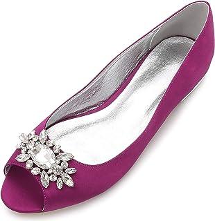 LIANYUNNEIYI Lady Flats Open Toe Evening Dress Shoes Oval Crystal Brooch Bridal Wedding Party Prom