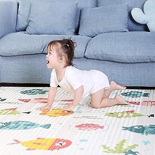 Baby Play Mat 180 * 160cm Foldable Foam Padded Kids Playmat Double-Sided Crawling Mat Waterproof Non Slip Kids Play Rug Cu...