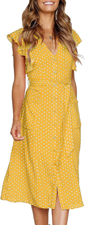 Vintage Polka Dot Dresses – 50s Spotty and Ditsy Prints MITILLY Womens Summer Boho Polka Dot Sleeveless V Neck Swing Midi Dress with Pockets  AT vintagedancer.com