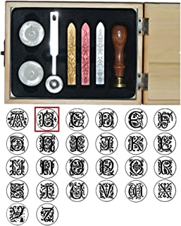 vergoldeter Siegelstempel incl 2 Stangen Siegelwachs und Siegelstift gravurART Gravur von Monogramm Siegel-Set Luxus