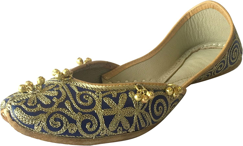 Step n Style Women's bluee gold Punjabi Jutti Ghungroo Ethnic shoes Handmade Khussa shoes