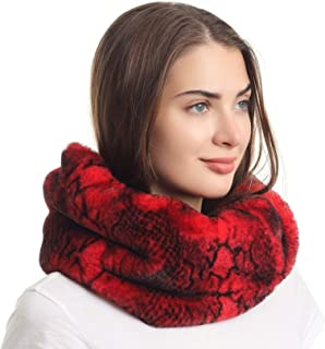 La Carrie Women's Winter Snakeskin Print Faux Fur Infinity Scarf Loop Circle Neck Warmer