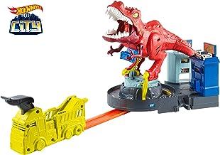 Hot Wheels - City Alboroto del Dinosaurio T-Rex, Pistas de Coches de Juguete (Mattel GFH88)