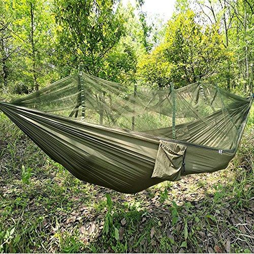 MONEYY Camping camping ascenseur loisirs en plein air, des moustiquaires imprégnées d'insecticide swing hamacs parachute (260*140cm)