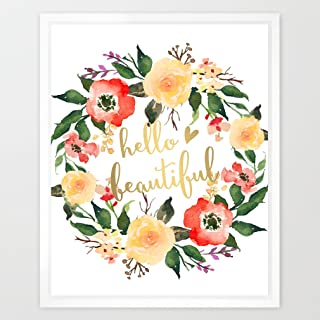 Eleville 8X10 Hello beautiful Real Gold Foil and Floral Watercolor Art Print (Unframed) Kids Wall Art Nursery Decor Baby girl gift Motivational Art Inspirational Birthday Wedding Gift Quote WG034