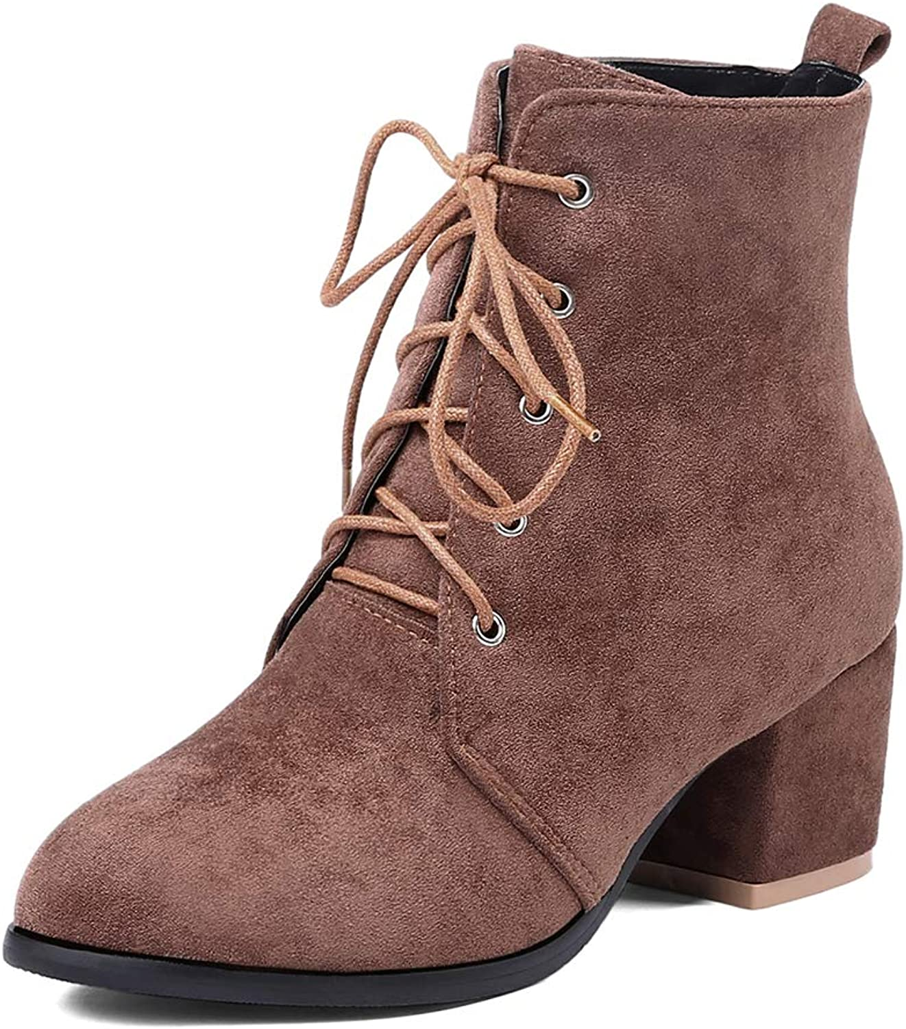 BIGTREE Women Ankle Boots Fur Lined Chunky Heel Suede Lace up Fashion Booties