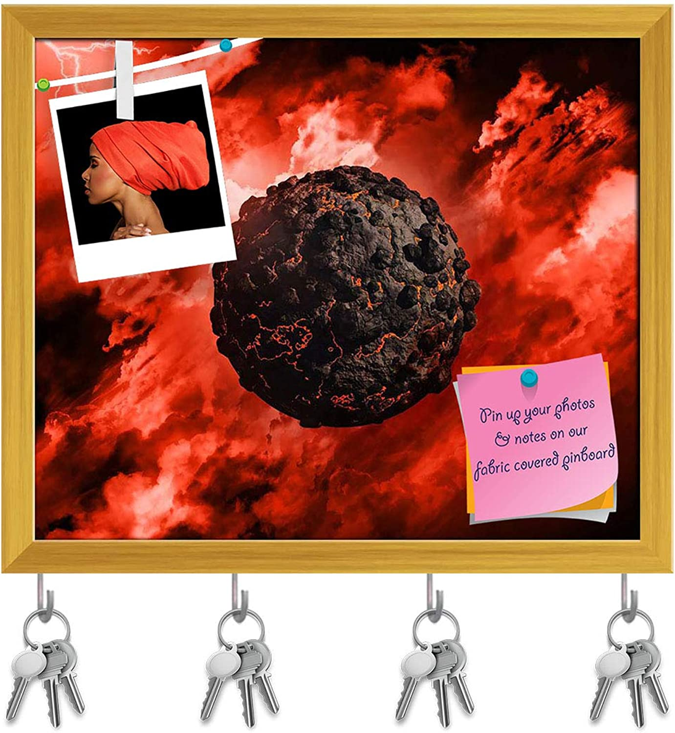 Artzfolio Volcanic Globe with in A Stormy Sky Key Holder Hooks   Notice Pin Board   golden Frame 19.1 X 16Inch