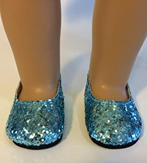 """The Wishlist Store Fits 18"""" American Girl Doll Elsa Blue Glitter Princess Shoes Frozen Inspired !"""