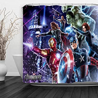 Baccessor Super Hero Shower Curtain Spider Man, Hulk, Captain America, Black Panther and Iron Man Marvel Fans Favorite, Hooks Included, 72