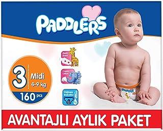 Paddlers Midi 3 Beden 160 Adet (4-9 Kg) Aylık Paket Bebek Bezi, Beyaz