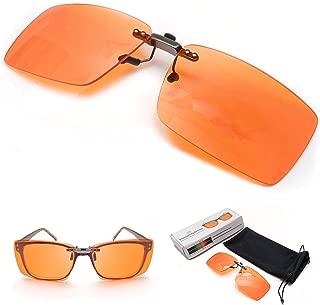 ElementsActive Clip On Blue Blocker Computer Glasses Lenses | 99.5% Blue Blocking | Over Prescription Eyeglasses | Better Night Sleep & Reduce Eyestrain Migraine Headaches Insomnia