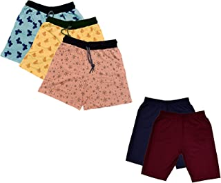 IndiWeaves Women's Combo Pack of Cotton Printed Shorts and Cycling Shorts (Pack of 5)