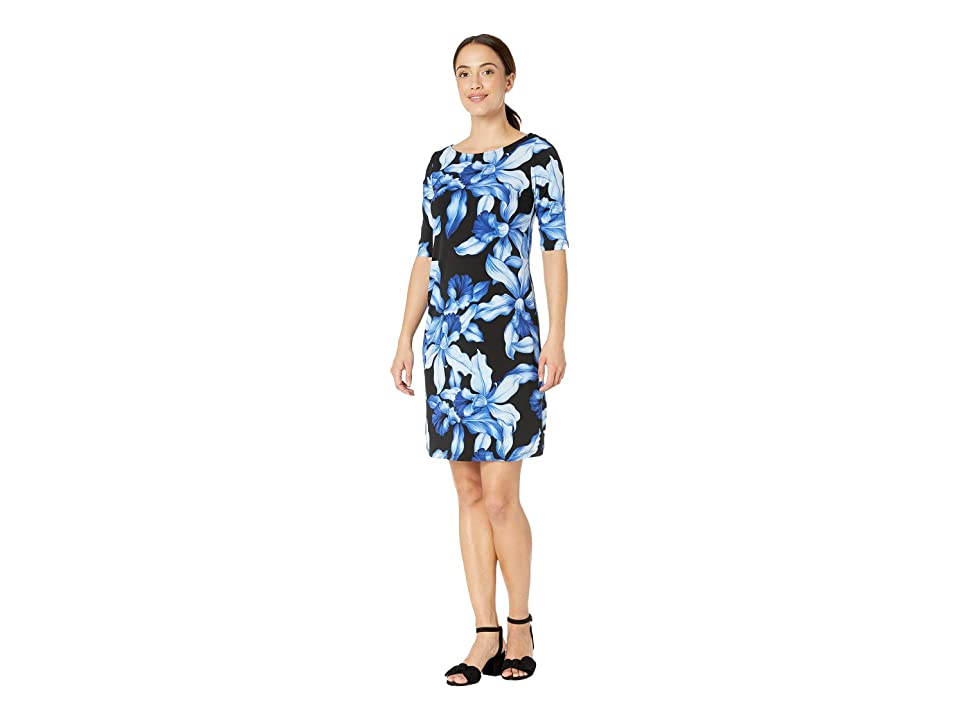 Tommy Bahama Orchid Rua Elbow Sleeve Dress (Black) Women
