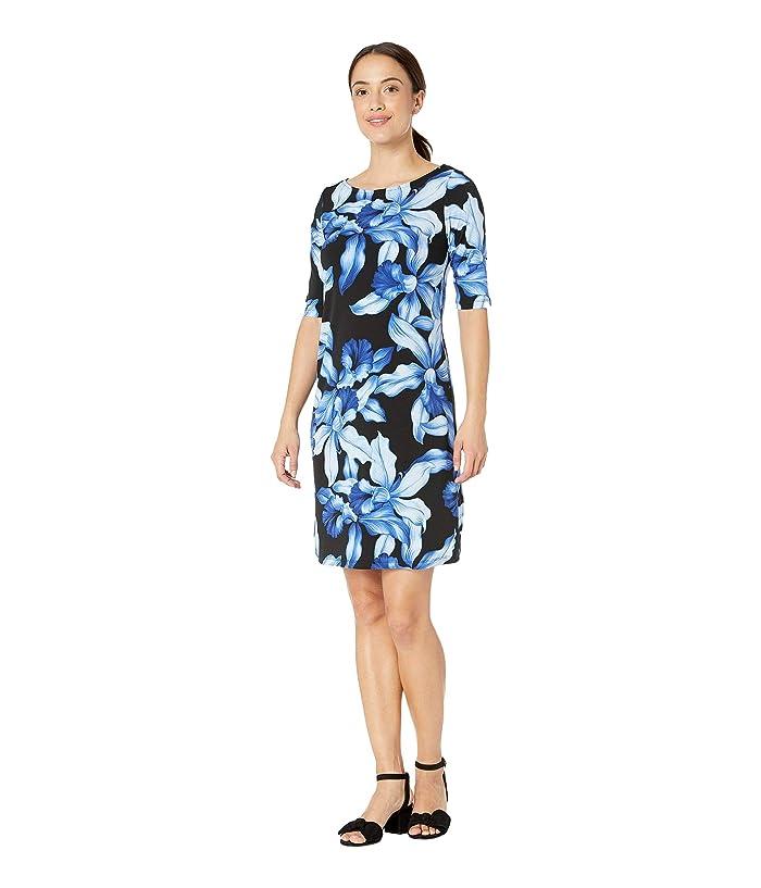 Tommy Bahama Orchid Rua Elbow Sleeve Dress (Black) Women