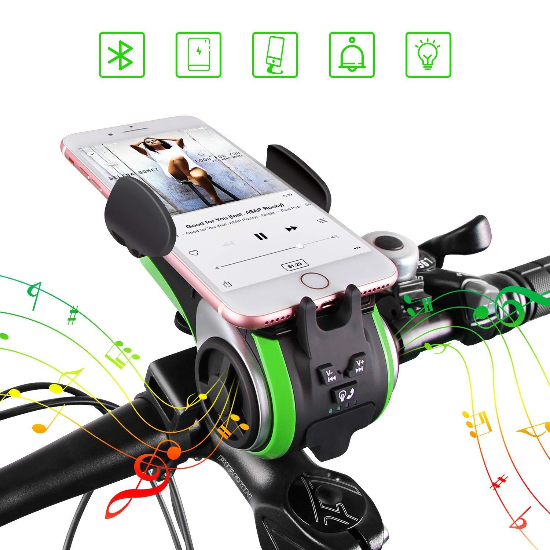 UPPEL 2019最新自転車スマホホルダー バイクBluetoothスピーカー LEDライト+モバイルバッテリー搭載+Bluetooth無料通話 便携式 防水 多機種対応 角度調整 TFカードをサポート GPSナビ/携帯固定用