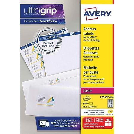 AVERY - (L7159-100) - Boite de 2400 étiquettes d'adressage autocollantes, Personnalisables et imprimables, Format 63,5 x 33,9 mm, Impression laser